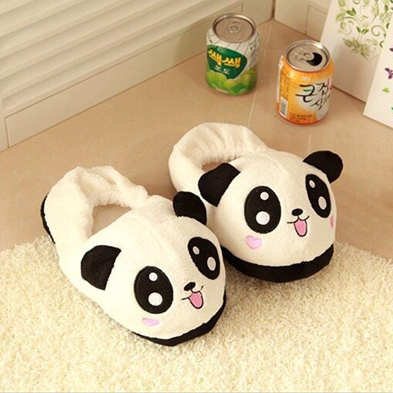 Abdb Slipper Indoor Novelty For Lovers Winter Warm Slippers Lovely Cartoon Panda Face Soft Plush Household Thermal Shoes 26cm Shoes Slippers