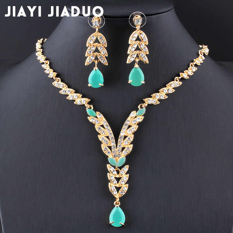 Fashion wedding jewelry set Gold-color necklace set Charm women summer womens clothing accessories sky blue crystal wholesale
