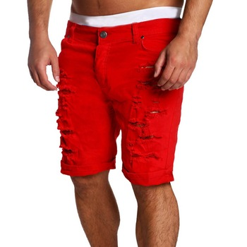 MJARTORIA 2019 New Men's Regular- Denim Short Jean Pants Summer Casual Hole Zipper  Mid Waist Shorts Men's Solid Jean Shorts 8
