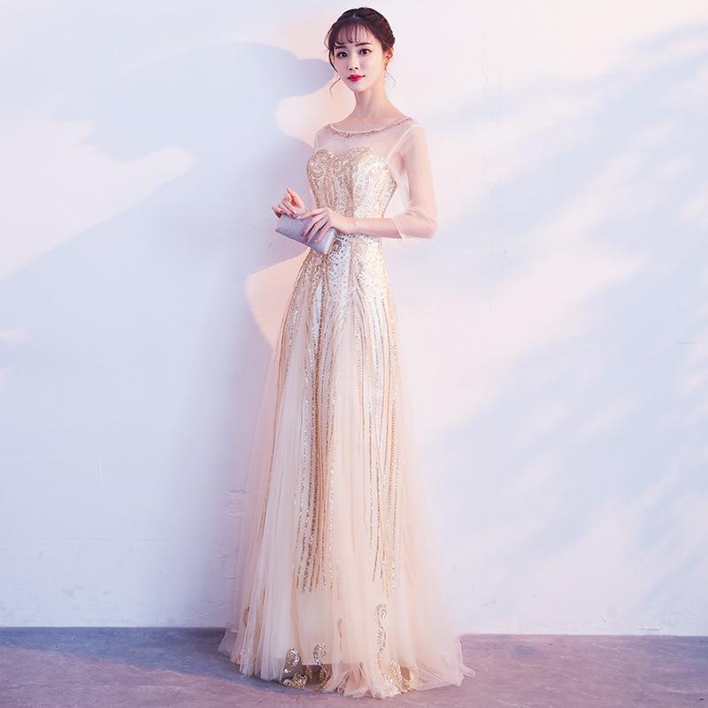 2019 New Banquet Evening Dress Gold Long Elegant Elegant Company Banquet Host Party Dress Female