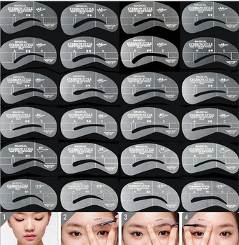 24pcs/lot Eyebrow Stencils 24 Styles Reusable Eyebrow Drawing Guide Card Brow Template DIY Make Up Tools Wholesales Beauty