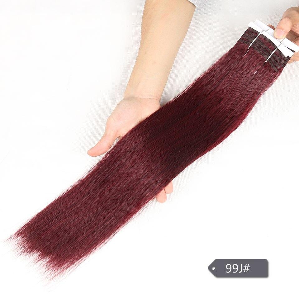 Image 5 - Sleek Double Drawn Brazilian Yaki Straight Human Hair Weave Bundles Remy Pure Color Brown Burgundy Red 99J Hair Bundles 113gHair Weaves   -