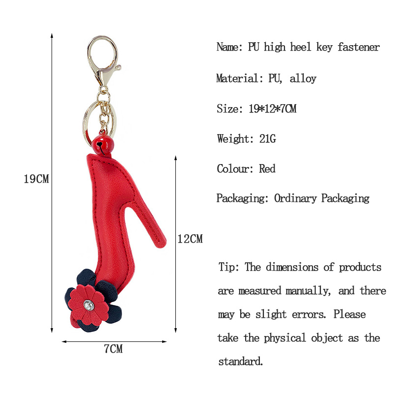 New PU Artificial leather red Flower high heels styling bell alloy key chain buckle pendant girl bag car pendant small Gift in Key Chains from Jewelry Accessories