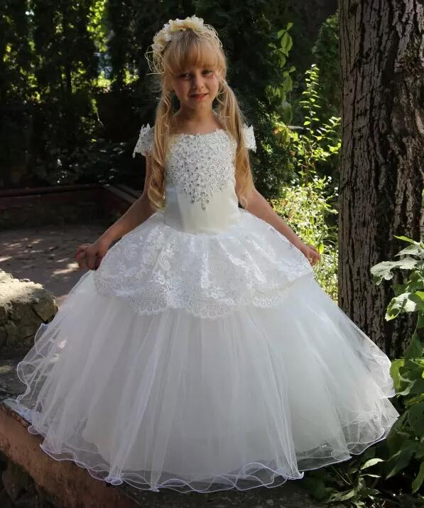 White Flower Girls Dresses for Weddings Lace Beading Off Shoulder First Communion Dress Princess Gowns Custom Any Size pearl beading scallop off shoulder dress
