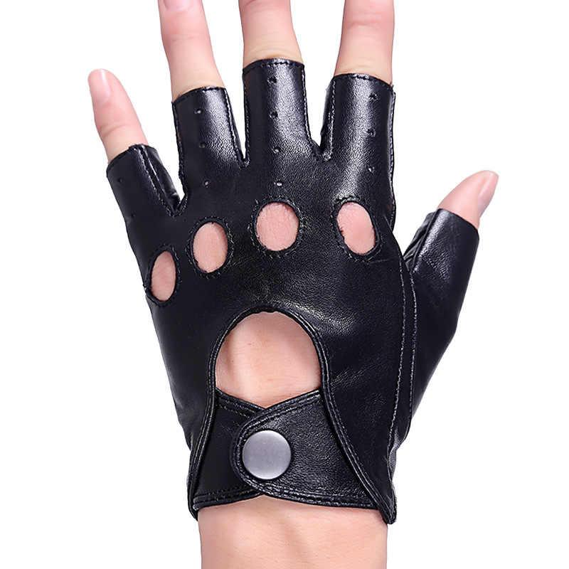 高品質メンズ本革手袋ハーフフィンガー革シープスキンミトン男性夏スタイル裏地なし指なし手袋