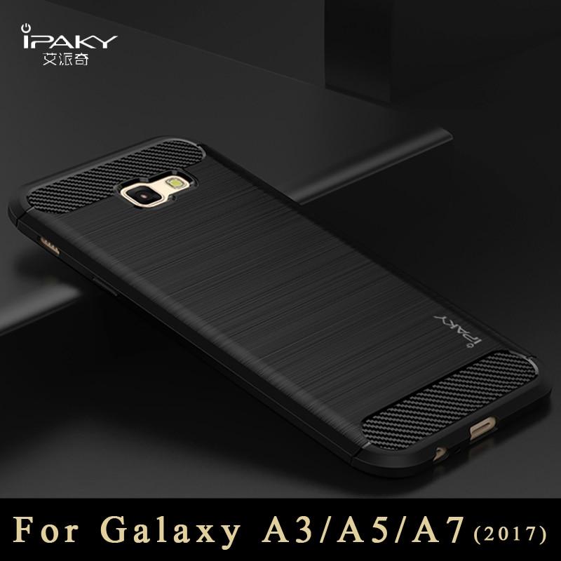 Galleria fotografica Original ipaky silicone Back Cover For samsung galaxy a3 a5 2017 case Luxury Brushed TPU case For samsung galaxy a5 a7 2017 case