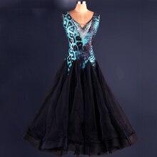 Waltz Ballroom Competition Dance Dress Lady's Leopard Shiny Diamond Stage Dancing Wear Tango Modren Ballroom Dresses Women
