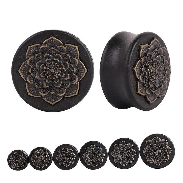 Pair Black Natural Wood Mandala Flower Ear Plugs Tunnels Ear Expanders Earring Gauges Piercing Plug Ears Body Jewelry