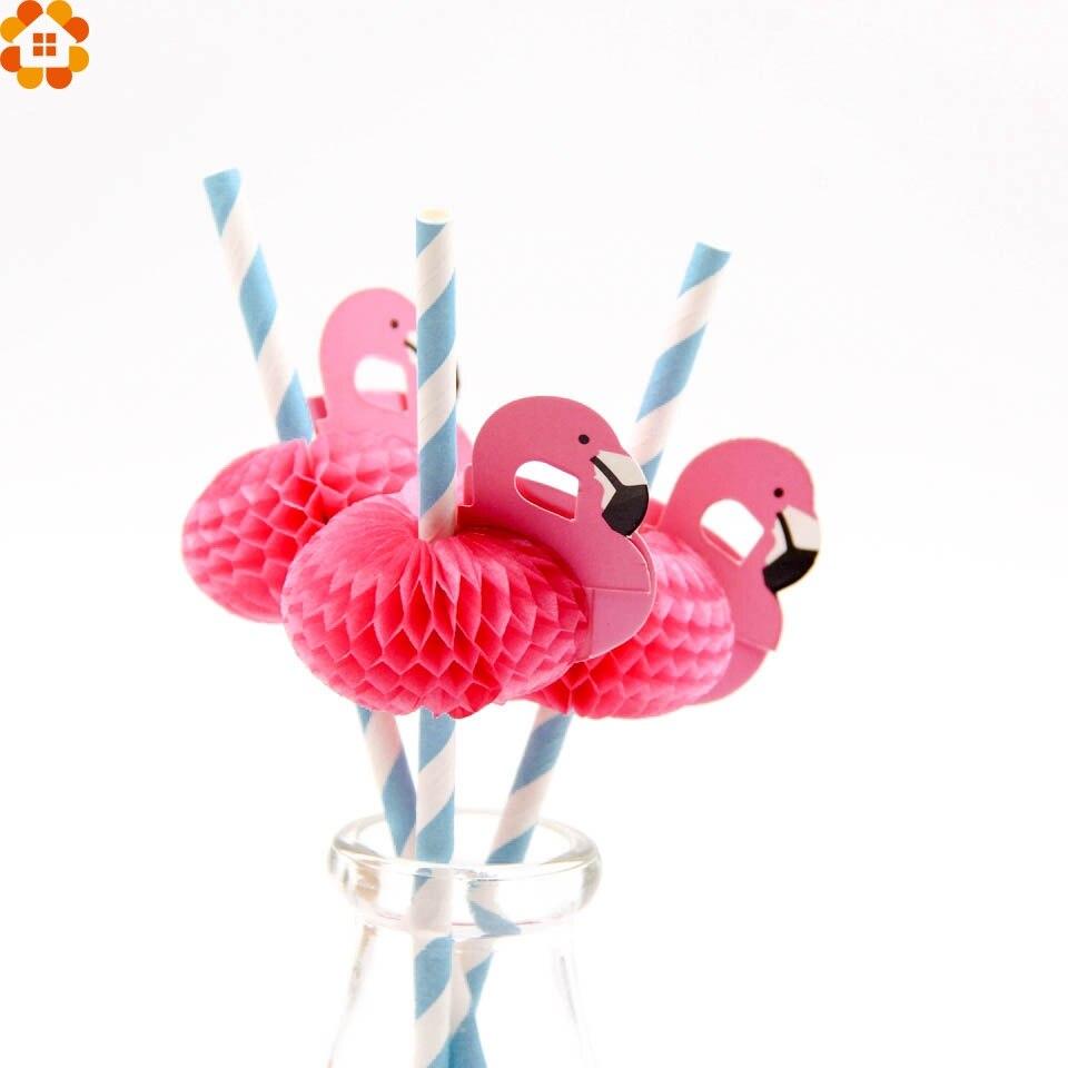 20PCS Flamingo Straw 3D Straw Bendy Flexible paper Drinking Straws Kids Birthday/Wedding/Pool Party Decoration Supplies