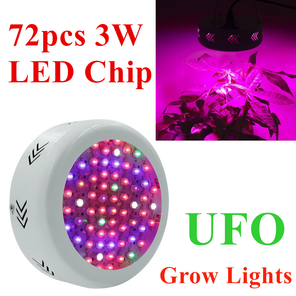 Full Spectrum 216W UFO 72X3W LED Grow Lights 85~265V Hydroponics Plant Lamp Ideal for All Phases of Plant Growth and Flowering best full spectrum 300w led cultivate light for hydroponics greenhouse grow tent led lamp suitable for all plant growth 85v 265v