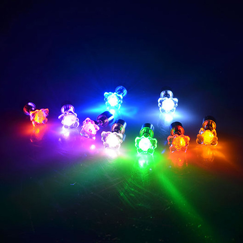 1 Pair Light Up LED Earrings Studs Flashing Blinking Stainless Steel Earrings Studs Dance Party Accessories