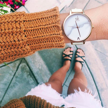 Shengke Brand Fashion Marbled Quartz Watch Women's Leather Band Waterproof Ladies Fashion Casual Watch luxury Dress Watches