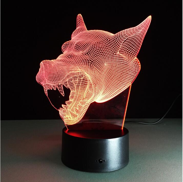 3D Light Werewolf Wolf Shape Acrylic Table Lamp Touch Button Night Light Mosphere Light for Kids Beside Lamp Powerbank Power