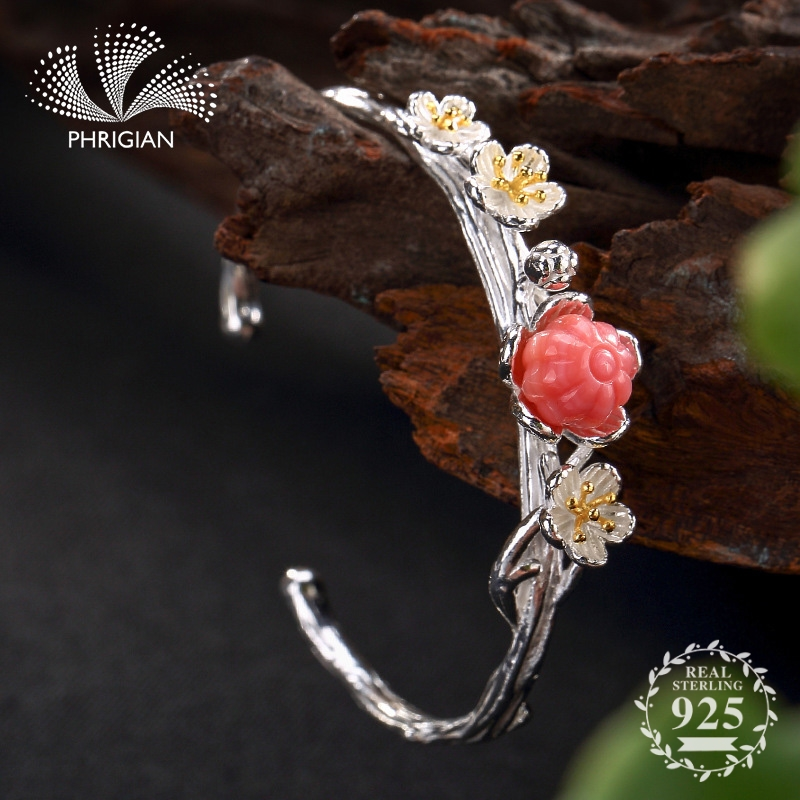 NOT FAKE S990 Fine Jewelry  925  Sterling Silver Bangle  Vintage Ethnic Jewelry Handmade Natural Women daisy flower plantNOT FAKE S990 Fine Jewelry  925  Sterling Silver Bangle  Vintage Ethnic Jewelry Handmade Natural Women daisy flower plant