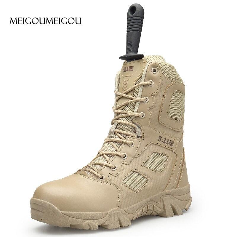 MEIGOUMEIGOU Big Size 39 47 Mens Boots Wear resisting Non slip Army Boots Men Waterproof Outdoor Climbing Hiking Boots Men