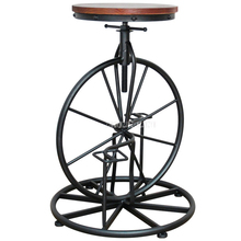 Antique European Style Bicycle Design Bar Chair 67-80CM Height Iron Solid Wood High Footstool Rotatable Swivel Barstool Chair