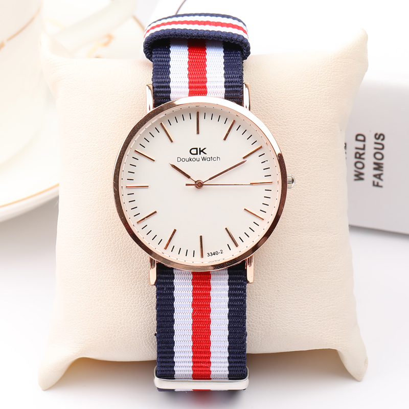 New Women Men Watch Brand Luxury Fashion Watches Nylon Cloth Date Waterproof Quartz Wristwatches Ultra Thin Canvas Lovers Watch  skmei lovers quartz watches luxury men women fashion casual watch 30m waterproof simple ultra thin design wristwatches 1181