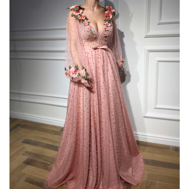 Custom Made Exquisite Pearls Flowers Long Sleeve Evening Dress 2019 Deep V Neck A Line Floor Length Elegant Formal Dresses