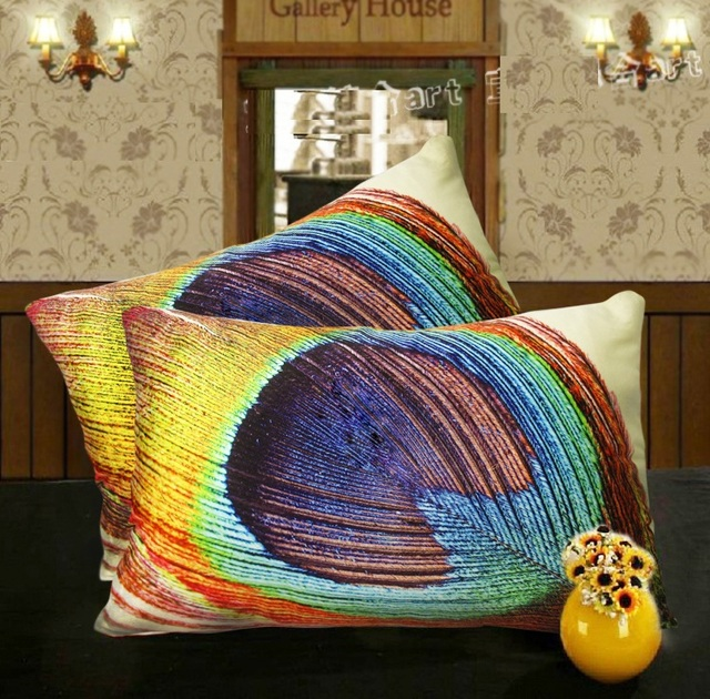 Effect Luxury Colour Pea Feather Art Cushion Cover Pillow Case Decorative Velvet Covers For