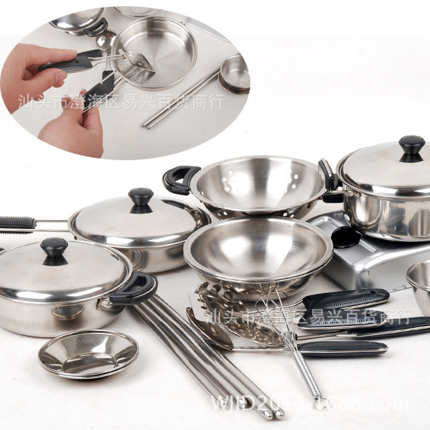 18set Stainless Steel Cooking Tools For Children Kids Play Education Kitchen Accessories Toys Cookware Pot Pan Brinquedo Cozinha In From