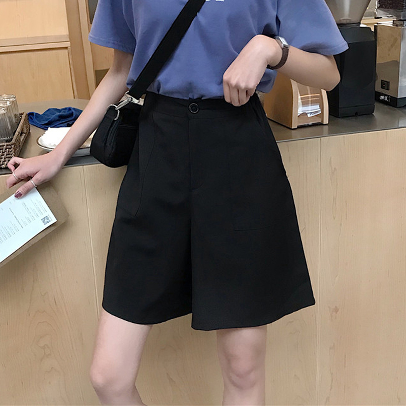 2 Colors Mihoshop Ulzzang Korean Korea Women Fashion Clothing Summer High Waist Black Wide Leg Loose Pants Capris