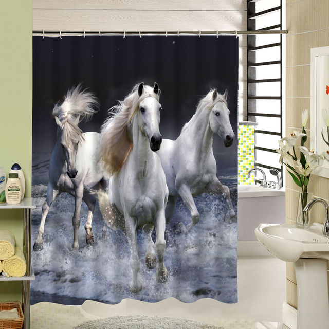 White Horses Shower Curtain 3d Polyester Waterproof Fabric Bath For Bathroom Decor Paroduct Set
