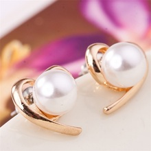 2016 New Fashion Jewelry Wholesale Factory Supplier Rose Gold Colour Pearl Stud Earrings For Women e0150
