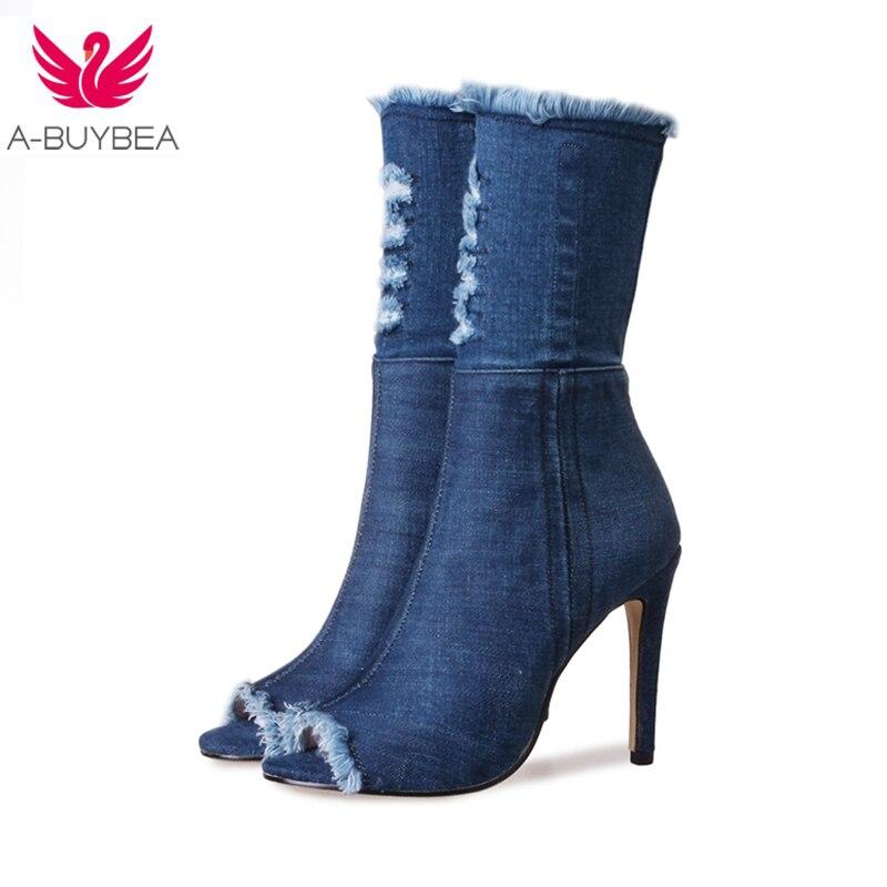 new product e7b02 4025c US $26.46 51% OFF|Heißer verkauf Blau jeans stiefel neue sommer schuhe  stiefeletten für frauen stiefel blau denim stiefel high heels sexy peep  kappe ...