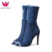 Горячая Распродажа синие джинсы сапоги новая летняя обувь ботильоны для женщин сапоги синие джинсовые сапоги высокий каблук сексуальные с открытым носком женские шпильки