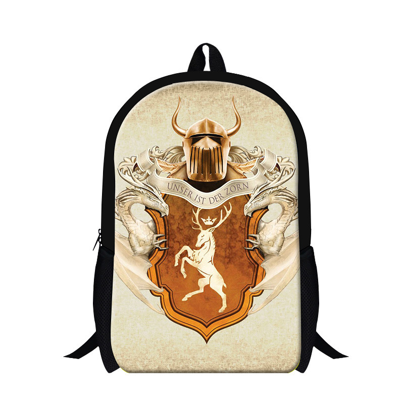 Newest American girl print backpack,fashion polyester Game of thrones character backpacks,cool girl with back pack