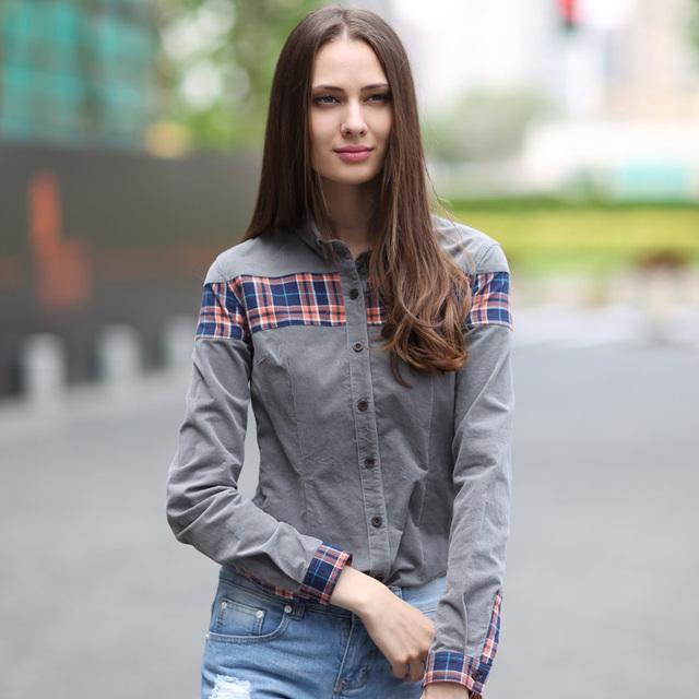 Veri Gude mulheres manga comprida camisa de veludo estilo britânico xadrez Patchwork Casual blusa