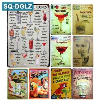 [SQ-DGLZ] placa clásica de cóctel, decoración de Bar Vintage de Metal, letrero...