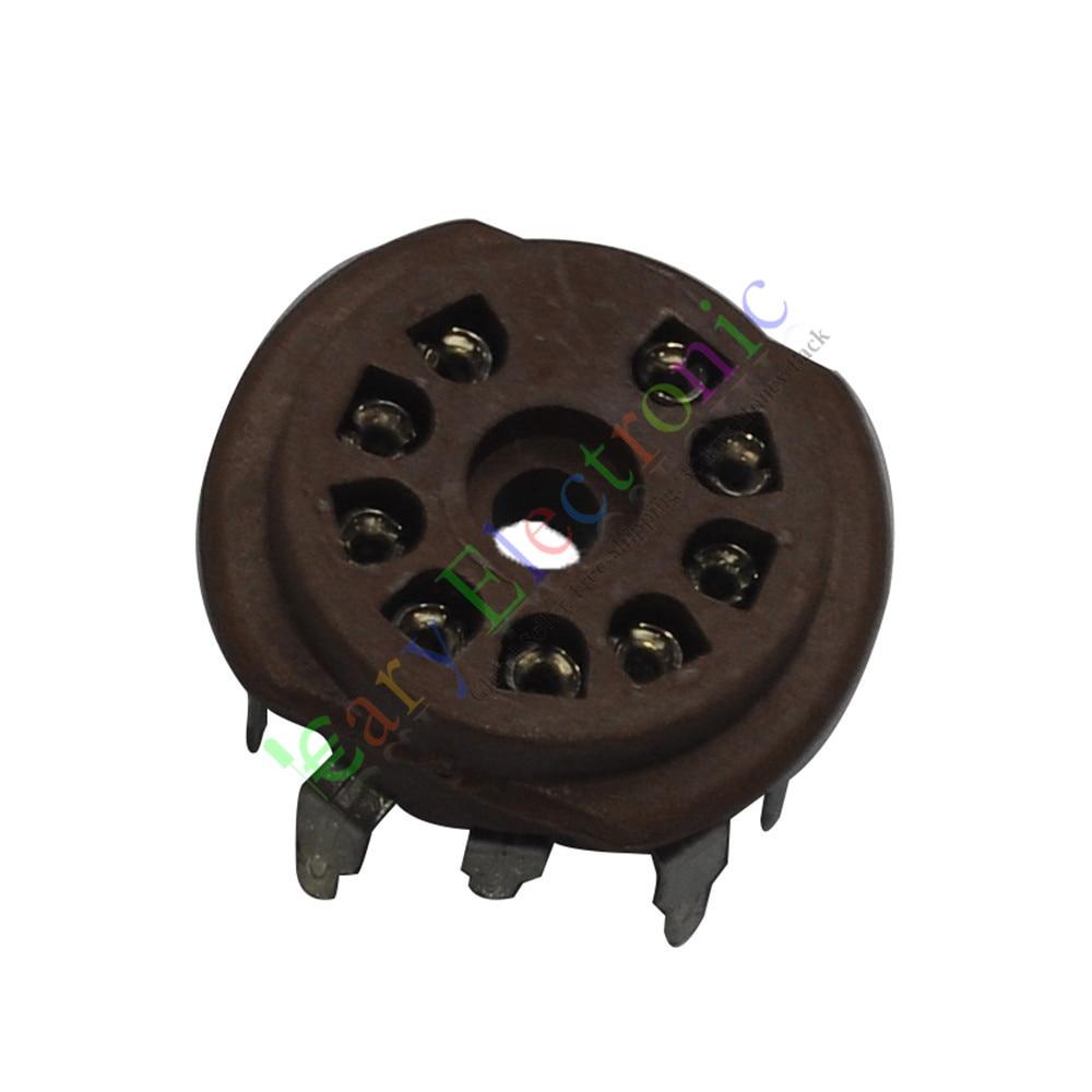 Wholesale and retail 12pc 9pin PCB Bakelite Vacuum tube sockets For 12AX7 6P1 6N1 6N3 audio amps hifi