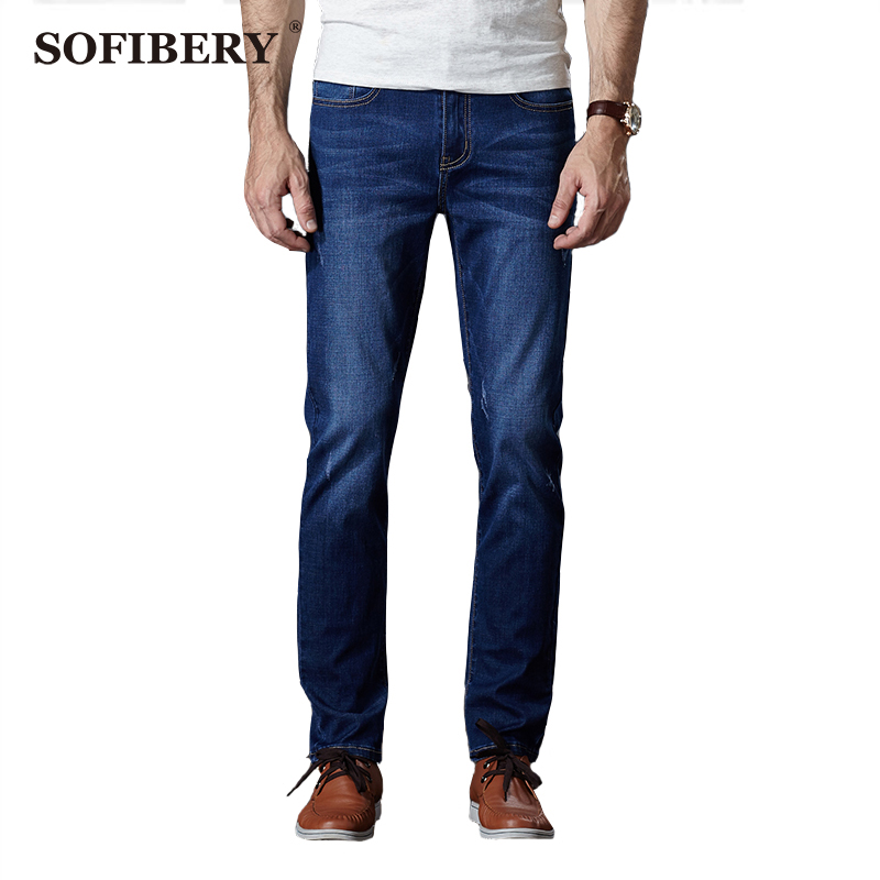 ФОТО SOFIBERY  Brand Men's Jeans men's autumn and winter solid light blue cotton Slim jeans super stretch jeans Large size 28-46