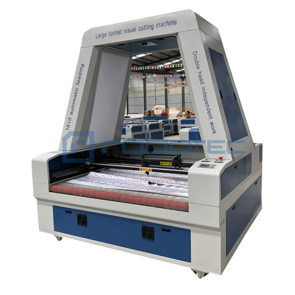 Two heads Co2 laser cutter engraver machine / China auto feeding cloth laser cutting machine with CCD camera