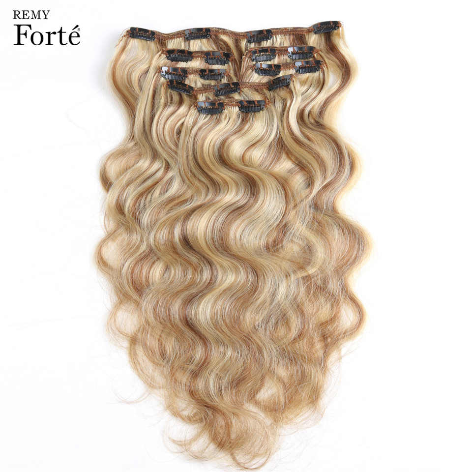 Remy Forte Clip In Human Hair Extensions P6/13 Piano Color Blonde Human Hair Clip 7 Pcs 115g Clip-In Full Head Body Hair Clip