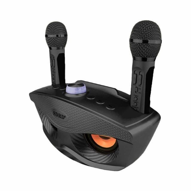 SDRD Wireless Karaoke Speaker Sd Dual Wireless Microphone Bluetooth Speaker Mobile Wireless Stereo 20w HOME Ktv Speaker MIC Set