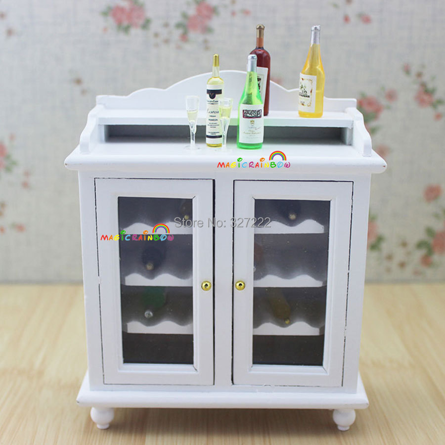 Kitchen cabinets for dollhouse - 1 12 Miniature Wine Cabinet Shelving Buffet Hutch Wooden Toys For Dollhouse Kitchen Furniture Accessories