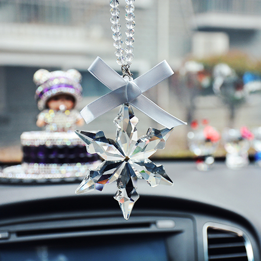 Beautiful Transparent Crystal Large Snowflakes Catcher Snowflake Clear Crystals Car Pendant Edition Ornament