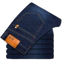 2018 Big Size 28 46 Man Jeans High Stretch Straight Long Slim Trousers Fashion Casual Black Blue Denim Male Business Jeanswear
