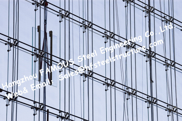 point fixed glass system curtain walls cable tensioned facade supporting starglass system