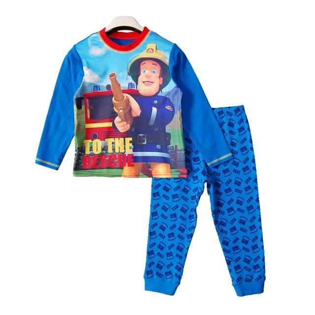 Fireman sam Boy pajamas suit Long Sleeve Pajama Children pijama Kids Sleepwear clothes at home nightgown Sleepwear Nightwear