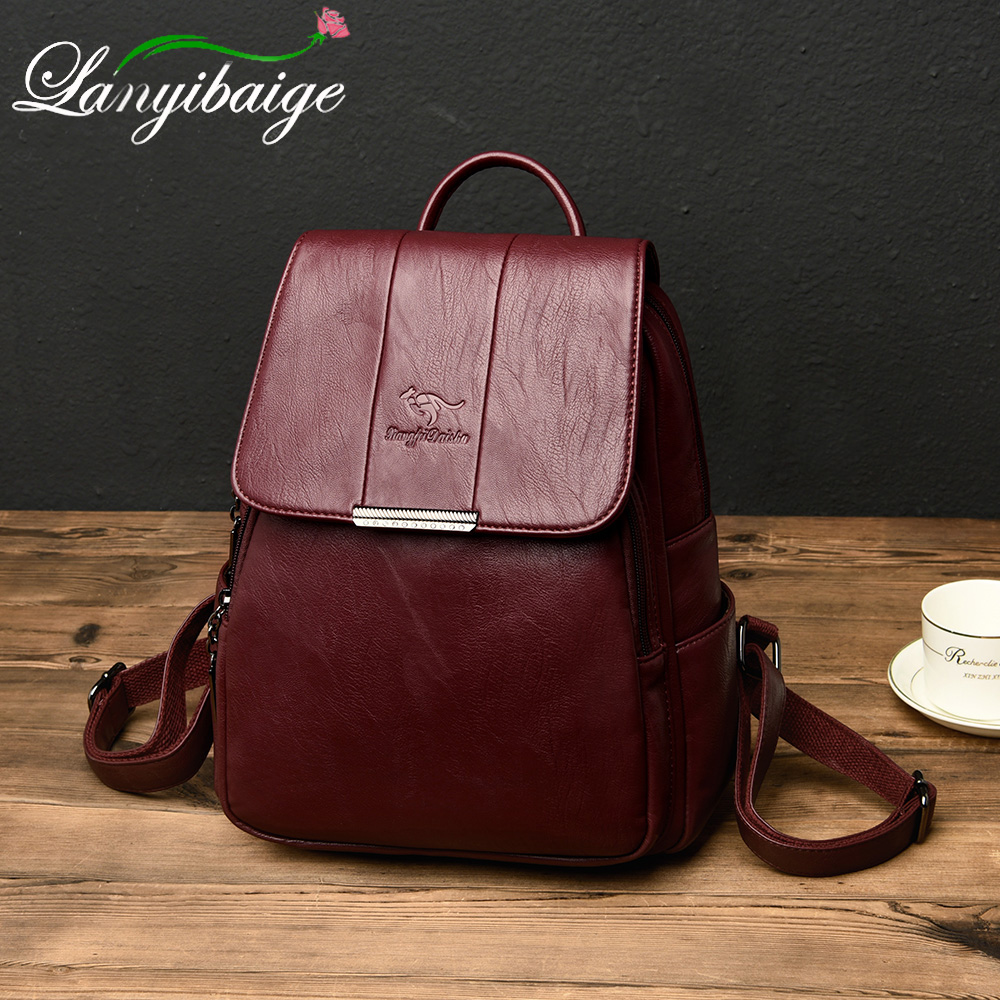 Multifunction Lady Leather Backpacks Shoulder Bag Mochilas Vintage Women Travel Backpack Rucksacks For Girls Preppy School Bag