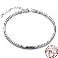 Aceworks Original 925 Sterling Silver Bạc Kim Loại Pan Bangle Bracelet Rắn Chain Nữ Thời Trang DIY Nhãn Hiệu Trang Sức Món Quà Tình Bạn