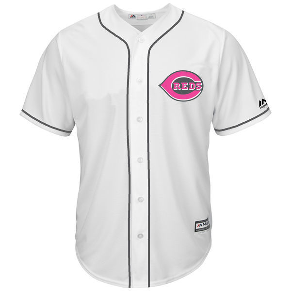 MLB Mens Cincinnati Reds Baseball White Mothers Day Cool Base Replica Team Jersey