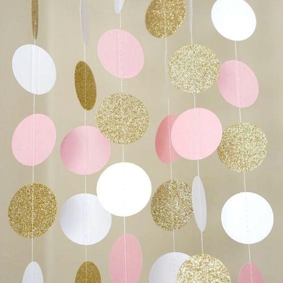 (aukso kampelis, rožinė, balta) 11 Kojų ratas Garlandas Polka - Šventės ir vakarėliai - Nuotrauka 2