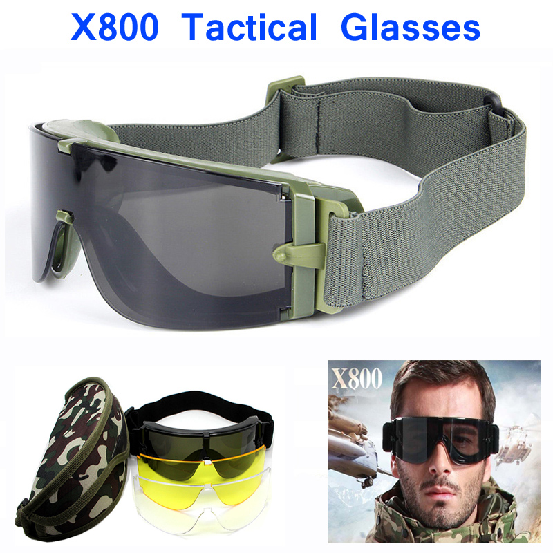 X800 Army Tactical Glasses Military Goggles Outdoor Airsoft Sport Eyewear Shooting Hunting Eye Protection Sunglasses With 3 Lens