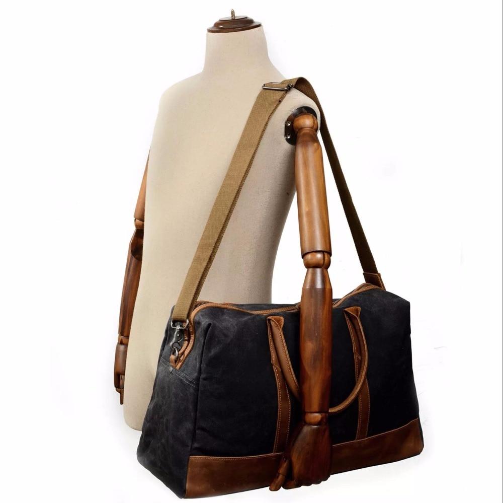 MESOUL Big Travel Duffle Väskor Mäns Stor Kapacitet Läder - Väskor för bagage och resor - Foto 5