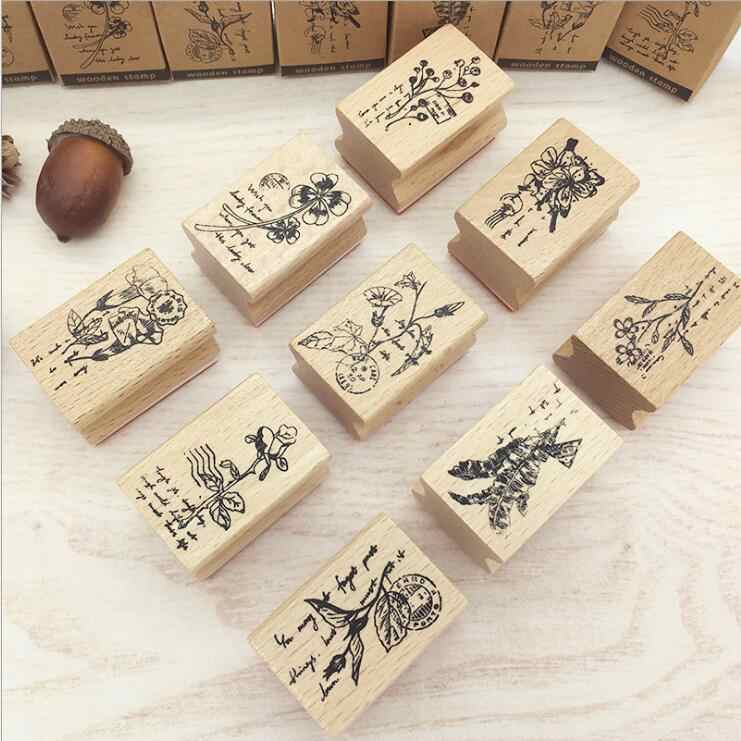 New Retro Printing flower Stamp Scrapbook Wood Clear Stamps DIY Classic  Hand Account for Decoration 9designs for choose