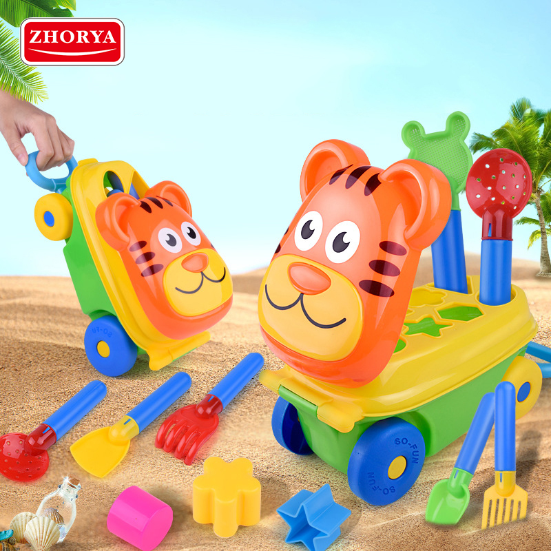 Zhorya 14PCS Kids Sand Beach Toys Cartoon Tiger Trolley Box ATV Bucket Spade Shovel Rake Water Tools Set For Children Toys